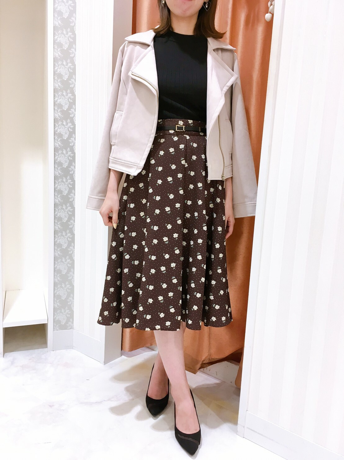 【sale】ベルト付き花柄ドットスカート