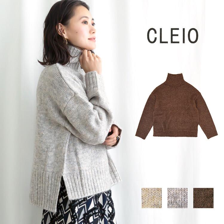 【CLEIO】 スリット入りハイネックルーズニットプルオーバー