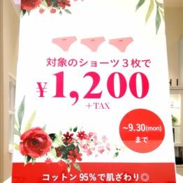☆対象のショーツ3枚で¥1,200(税抜)!☆