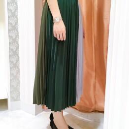 3カラー☆配色プリーツスカート