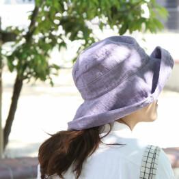 リネンの帽子で日よけ対策