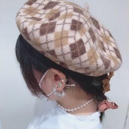 秋物ベレー帽子✔️