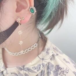 cubic zirconia flower earring 🌹*+。