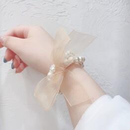ribbon × Pearl bracelet 🎀*+。