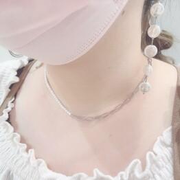 Pearl & chain necklace 💎+*⚪︎