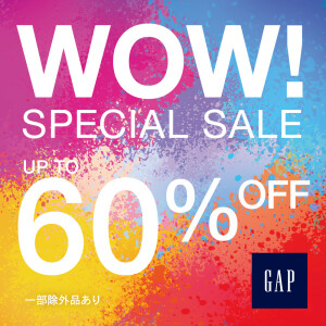 Gap/GapKids UP to 60%off sale開催中